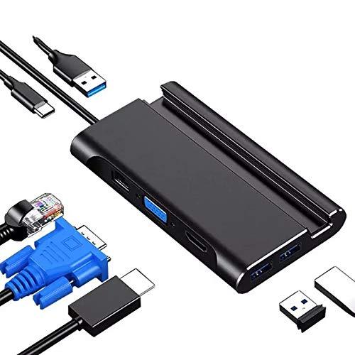 QWQ Docking Station, USB C Laptop Docking Station USB 3.0 HDMI VGA RJ45 PD USB Hub Suitable for Laptop Macbook Pro HP DELL Surface Lenovo Samsung Dock