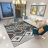 La Alfombra Alfombra Entrada casa Sala de Estar Alfombra Decorativa Gris Azul Amarillo diseño geométrico Retro Alfombra Infantil niño Antideslizantes alfombras 200*300cm