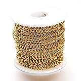 Cheriswelry Cadena de acero inoxidable 304 de oro soldada trenzada cadena con bobina de 5 x 3,5 mm para joyas, pulseras, collares, tobilleras, manualidades