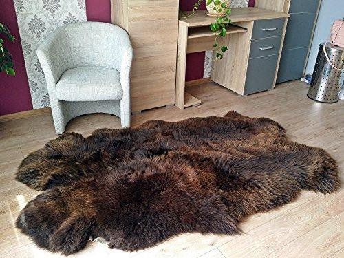 DX Schaffell-Teppich Lammfell Teppich, LÄUFER, Bettvorleger, (aus 4 Fellen) Decke 100% Naturfell, echt Fell braun DYSO-0003