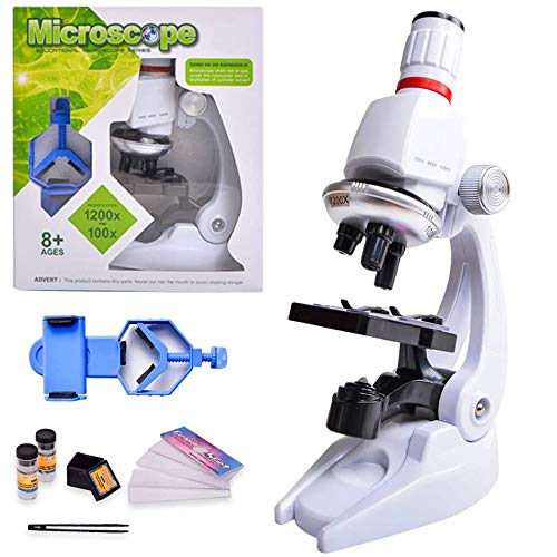 HONPHIER Kids Microscope 100x 400x 1200x Microscope for Children Kids Toys LED Educational Microscope Set with Adjustable Phone Holder