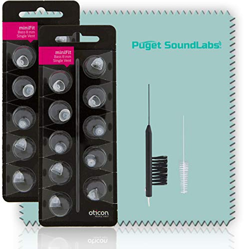 Oticon MiniFit Single Vent Bass Domes (Medium 8mm) Bundled with Puget SoundLabs Hearing Aid Cleaning Brush, Vent Cleaning Tool, and Microfiber Cleaning Cloth Kit (2 Packs) (20 Domes)