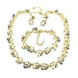 Conjuntos de joyas de perlas para mujer conjuntos de joyas de perlas de imitación de perlas nupciales collar de hoja de flor pendientes pulsera conjunto de mujeres de moda