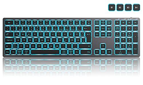 seenda Teclado Bluetooth iluminado con 7 colores de iluminación, recargable, ultrafino, QWERTZ con 4 canales Bluetooth, teclado inalámbrico para Windows/Mac OS/iOS/Android, color gris espacial