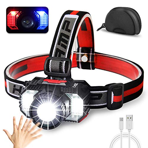 [2021 Newest]LED Headlamp Flashlight 6000Lumen Multifunctional-Rechargeable Work Light with Button&Motion Mode-Running,Camping,Outdoor Waterproof-Best Head Lamp with Red&Blue Flash Lights