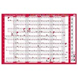 Sasco 2021 EU Year Wall Planner with Wet Wipe Pen & Sticker Pack, Red, Poster Style, 915W x 610H mm, 2410135
