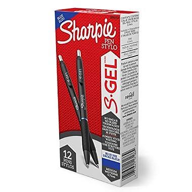 Sharpie S-Gel, Gel Pens, Medium Point (0.7mm), Blue Gel Ink Pens, 12 Count