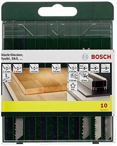 Bosch 10-teiliges Stichsägeblatt-Set, U-Schaft, für Holz, Metall, Kunststoff, 2607019460