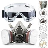 Facial Cubierta RS Antipolvo Reutilizable con Gafas, Guantes y 6 Filtros de...