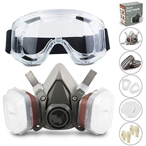 Facial Cubierta RS Antipolvo Reutilizable con Gafas, Guantes y 6 Filtros de Protección de Partículas para Pintura, Industria, Gas, Carpintería, Vapor y más