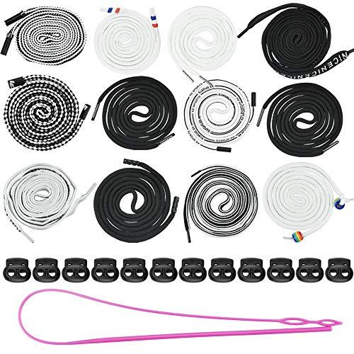 PERFETSELL 12 Stück Kordelzug Polyester Ersatz-Kordel Universal Kordel für Jogginghose, 12 Stück Schwarz Kordelklemmen Doppelloch Kordelstopper mit Einfädler für Hosen Jacken Sporthosen
