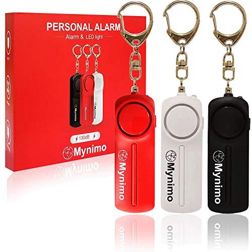 Alarma personal, llavero de sirena de autodefensa con luz LED para mujeres, hombres, niños y personas mayores de 130 dB, alarmas de seguridad personal seguras (paquete de 3)