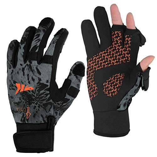 KastKing Mountain Mist Fishing Gloves – Cold Winter Weather Fishing Gloves – Fishing Gloves for Men and Women – Ideal as Ice Fishing, Photography, or Hunting Gloves(Blackout, Small)