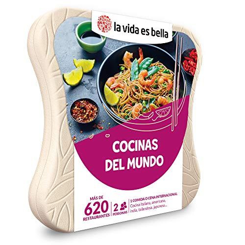 LA VIDA ES BELLA - Caja Regalo Amor para Parejas - Cocinas del Mundo - Ideas Regalos Originales - 1 Comida o Cena para 2 Personas