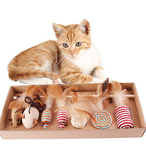 MILSUE Katzenspielzeug-Set, Katzenspielzeug für den Innenbereich, lustiges und interaktives Katzenspielzeug mit 7 Puppen
