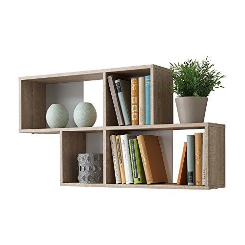 FMD furniture 270-001E, Wandregal in Ausführung Eiche Nachbildung/Weiß, Maße ca. 100 x 53 x 19,5 cm (BHT), Melaminharz beschichtete Spanplatte