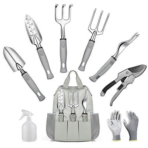 Diealles Shine 9 -Teiliges Gartenset Werkzeug, Gartengeräte Set Gartenhandschuhe Gartentasche für Gartenbedarf
