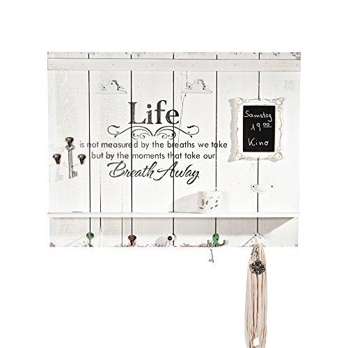 Melko Wandbild inkl. Tafel mit 8 Garderobenhaken und Ablage aus Holz in weiß