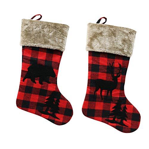 XIANGTAI Calcetines de Navidad Personalizados para decoración del hogar, Regalos para Fiestas de Vacaciones, Decoraciones de Regalo, Juego de 2