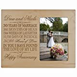 Personalized 30 Year Anniversary Picture Frame Gift for her him couple Custom Engraved 30th year wedding celebration for husband wife Photo Frame Holds 1 4x6 Photo 8' H X 10' (Maple)