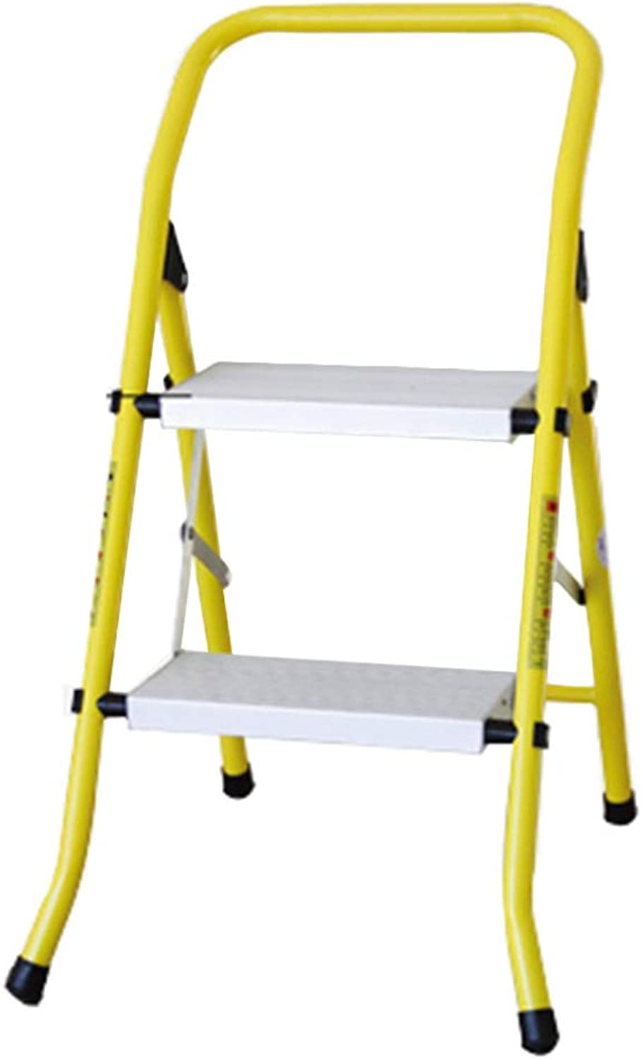 HAIPENG Step Stool Ladder Chair Aluminum Alloy 2 Steps Foldable Dual-Purpose Multi-Function Thick Portable Household, Yellow, 47x52x48cm
