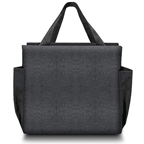 Neue Lunch-Tasche, Isolierte Bento-Einkaufstasche mit Kühler, Verdickte Picknick-Handtasche mit Zwei Großen Taschen, Faltbare Lunch-Behälter für Männer, Frauen, Kinder (schwarz)