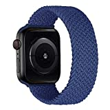 MroTech Correa Compatible con Apple Watch 44mm 42mm Pulseras de Repuesto para iWatch SE Serie 6 5 4 3 2 1 Correa de Nailon elástico Banda Elastic Nylon Woven Loop Sport Band 42/44 mm-Noche Azul/M