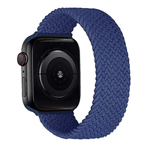 MroTech Correa Compatible con Apple Watch 44mm 42mm Pulseras de Repuesto para iWatch SE Serie 6 5 4 3 2 1 Correa de Nailon elástico Banda Elastic Nylon Woven Loop Sport Band 42/44 mm-Noche Azul/S