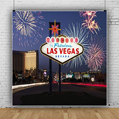 Laeacco 6x6ft Las Vegas Night Backdrop Welcome to Las Vegas Photography Background Fabulous Casino Poker Movie Themed Birthday Party Decoration Prom Ceremony Banner Fireworks Festival Celebration