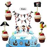 JAHEMU Piraten Kuchen Deko Hallowen Cupcake Topper Pirate Kuchengirlande Wimpelkette Cake Topper Geburtstag Tortendeko für Baby Shower, Kindergeburtstag Party, 45 Stücke