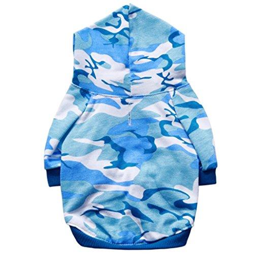 Angelof Vetement Chien/Chat Manteau A Capuche Chien Camouflage Veste pour Chiot Habit Chic Sweat Accessoire Chihuahua Veste Capuche Chien (L, Bleu)