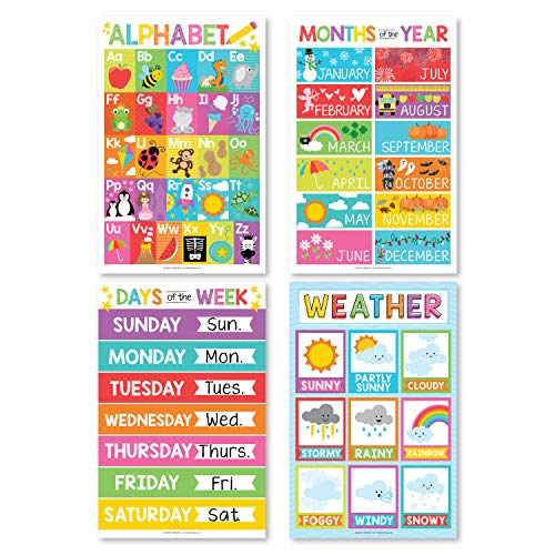 4 Alphabet, Months of the Year, Weather, Days of The Week Calendar For Kids, ABC Posters For Toddlers Wall Decor Art, Charts for Kindergarten Classroom PreK or Homeschool, Educational Laminated 11x17'