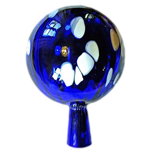 Naturholz-Schreinermeister L Rosenkugel Rillenoptik Höhe 18cm Durchmesser 12cm Rosenkugeln Gartenkugel Handarbeit stabieles Glas verspiegelt und wetterfest (Blau weiße Punkte)