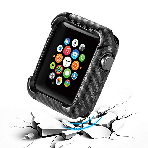 Drop-Proof Carbon Fiber Case Cover,Compatible with iwatch Series 4/3/2 Smartwatch Shockproof Case Cover 44mm/40mm/38mm/42mm Bumper Protector (38mm)