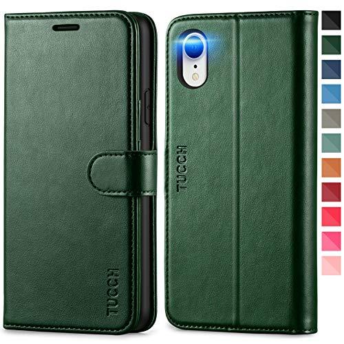 TUCCH iPhone XR Hülle, TPU Handyhülle [RFID Blocker] [Aufstellfunktion] [Kartenfach] [Magnetverschluss], Stoßfeste Schutzhülle Lederhülle für iPhone XR (6,1) Schwarzgrün
