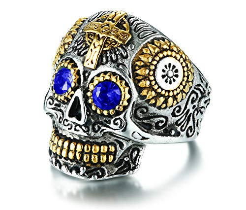Rinspyre Men's Halloween Stainless Steel Day of The Dead Gothic Cross Sugar Skull Ring Vintage Flower Blue Eye Size 13