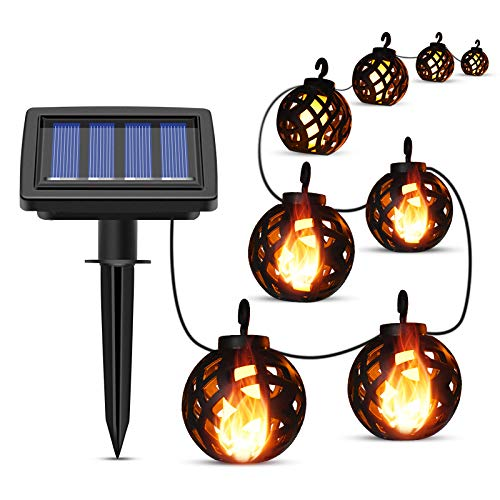 Pemedor LED-Solar-Lichterkette für den Außenbereich, wasserdicht, flackernde Flamme, mit 8 Kugeln, für Terrasse, Garten, Hof