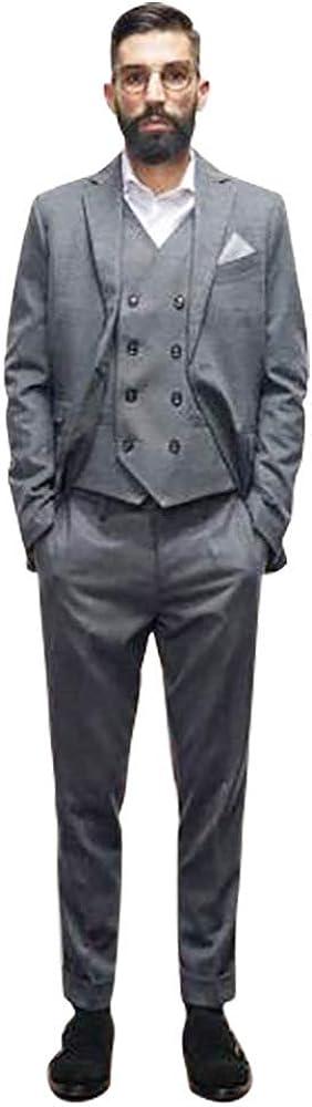 Men's Tailored 3 Pieces Formal Slim Fit Tuxedo Elegant Best Man Dinner Suit Blazer Vest Pants