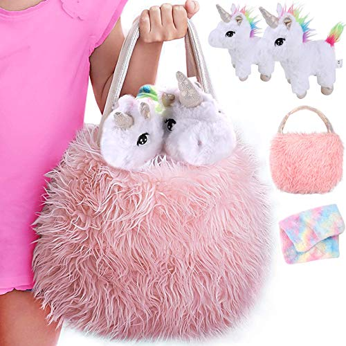 Tacobear Unicorn Gift for Girls with Furry Unicorn Bag Unicorn Soft Toys Baby and Mommy Pretend Play Toy Plush Unicorn Toy Birthday Gift for Girl 3 4 5 6 7 Year Old