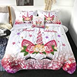 Sleepwish Kids Unicorn Comforter Set 3D Unicorn Eye Lash Print Bedding with 2 Pillow Shams and 1 Cushion Cover Unicorn Pattern 4 Pieces Pink Glitter Reversible Comforter for Girls (Twin)