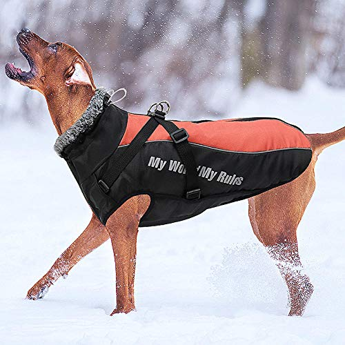 Eidoct Waterproof Dog Winter Jackets Cold Weather Dog Coats with Harness & Furry Collar Easy Walking Reflective Soft Warm Sports Clothes Apparel for Medium Large Dogs Pink 3XL