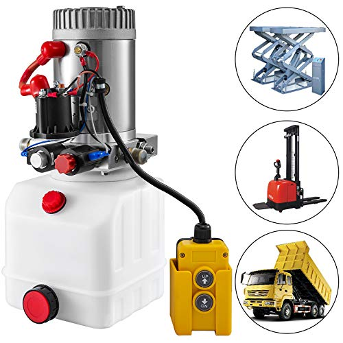 Mophorn Hydraulic Pump 3 Quart Double Solenoid Hydraulic Power Unit Double Acting Hydraulic Cylinder Remote Crane Control Kit for Dump Trailer Car Lifting (Plastic, Double Acting)