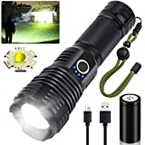 LED Flashlights Rechargeable High Lumens, 90000 Lumens Super Bright Tactical Flashlights, Xhp70.2 Zoomable Waterproof Flash Light 5 Modes for Camping, Hiking, Outdoor, Emergency (with 26650 Battery)