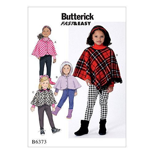 Butterick Patterns Butterick Muster 6373CL Kinder/Mädchen Cape und Poncho, mehrfarbig,