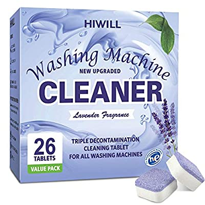 HIWILL Washing Machine Cleaner Tablets, Solid Washer Deep Cleaning Tablet, Natural Formula, for Front Load and Top Load Washers 26 Count