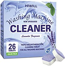 HIWILL Washing Machine Cleaner Effervescent Tablets, Solid Washer Deep Cleaning Tablet, Triple Decontamination Remover with Natural Biological Formula, for Front Load and Top Load Washers 26 Count