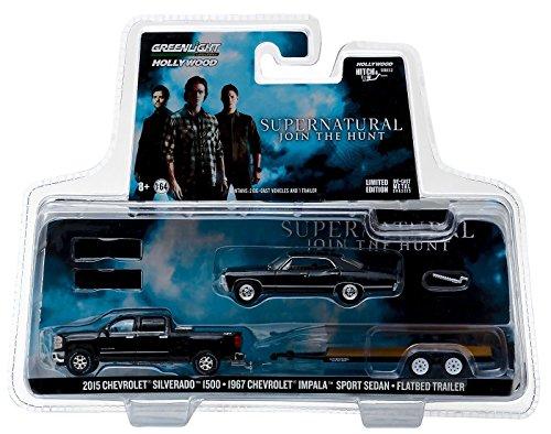 Greenlight Supernatural Set - 1967 Chevrolet Impala + 2015 Chevy Silverado + Anhänger 1:64