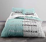TODAY Enjoy Hello Sunshine-Parure HC4 : Housse de Couette 240x260 + 2 Taies d'Oreiller 100% Coton, COTON-57 Fils, Bleu, 240/260