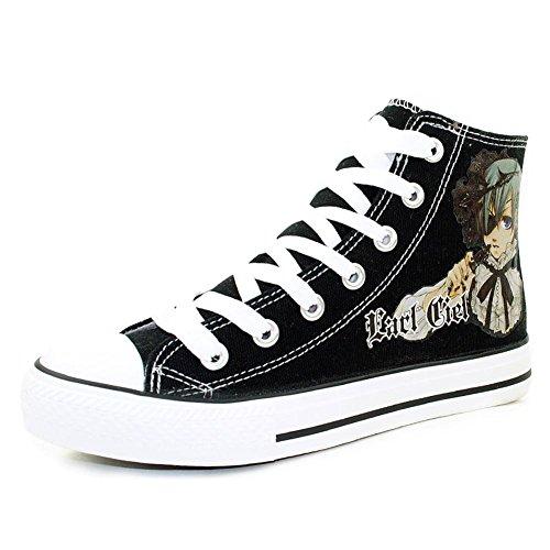 Leinwand-Schuhe für Erwachsene mit Black-Butler-Anime-Motiv, Sebastian Michaelis, Kostüm/Cosplay, Ciel Phantomhive , schwarz - schwarz - Größe: Unisex 41/25,5 cm