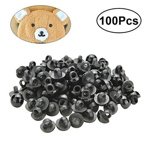 OUNONA 100pcs plastique s/écurit/é yeux nez kits avec rondelles pour ours en peluche poup/ée marionnettes artisanat Accessoires